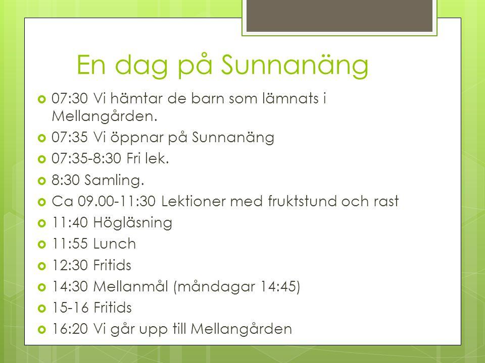 En dag på Sunnanäng 07:30 Vi hämtar de barn som lämnats i Mellangården. 07:35 Vi öppnar på Sunnanäng.