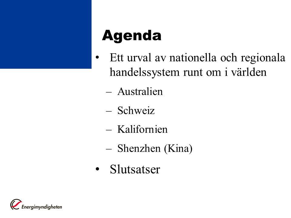 Agenda Ett urval av nationella och regionala handelssystem runt om i världen. Australien. Schweiz.