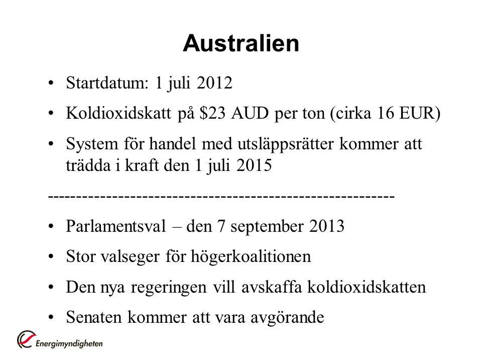 Australien Startdatum: 1 juli 2012
