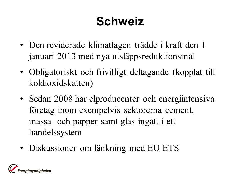 Schweiz Den reviderade klimatlagen trädde i kraft den 1 januari 2013 med nya utsläppsreduktionsmål.