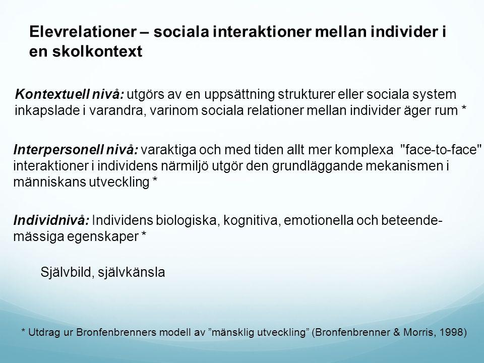 Elevrelationer – sociala interaktioner mellan individer i en skolkontext