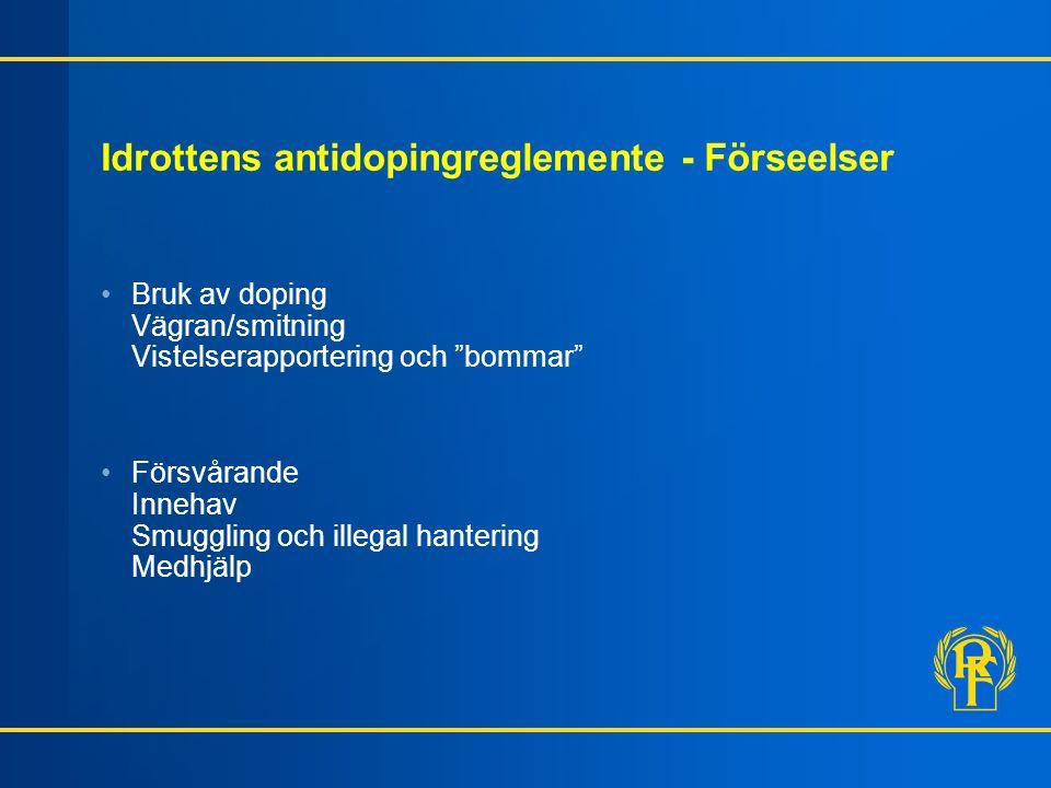 Idrottens antidopingreglemente - Förseelser