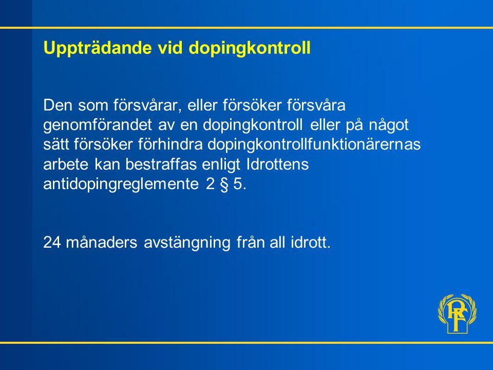 Uppträdande vid dopingkontroll