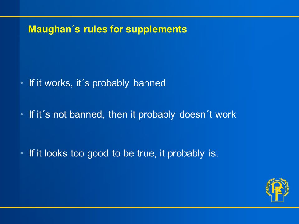 Maughan´s rules for supplements