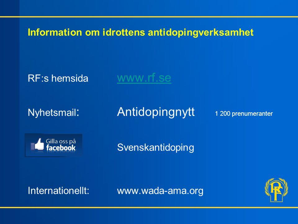 Information om idrottens antidopingverksamhet