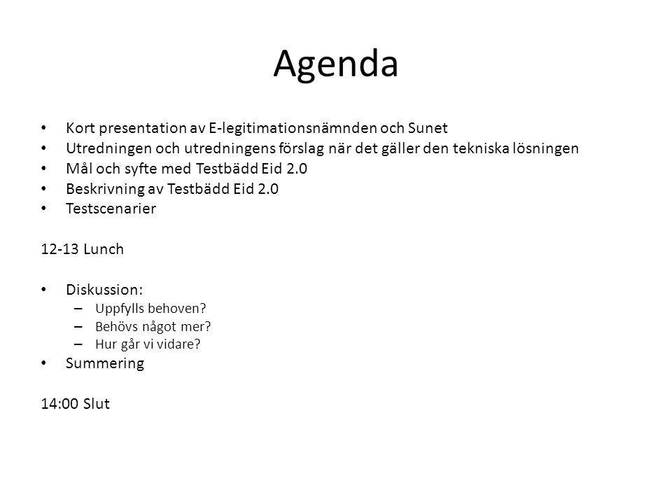 Agenda Kort presentation av E-legitimationsnämnden och Sunet