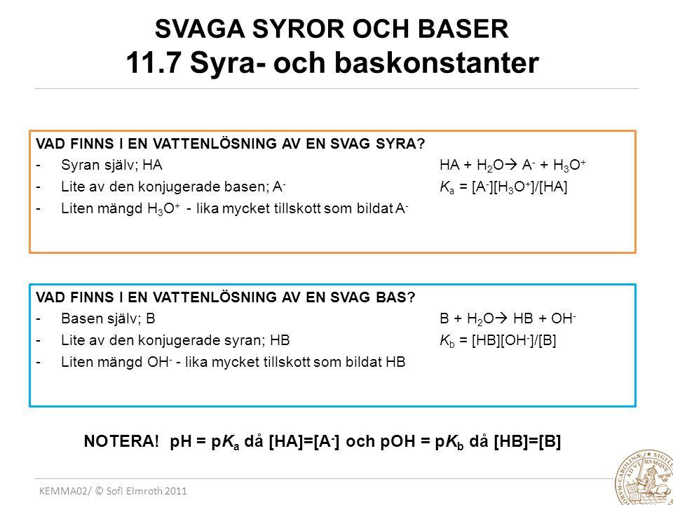 SVAGA SYROR OCH BASER 11.7 Syra- och baskonstanter