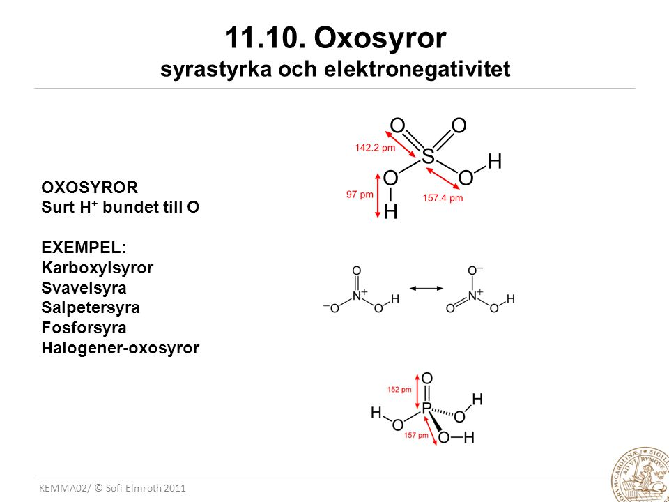 11.10. Oxosyror syrastyrka och elektronegativitet