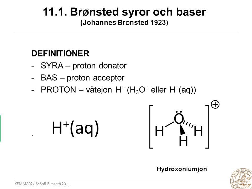 11.1. BrØnsted syror och baser (Johannes BrØnsted 1923)