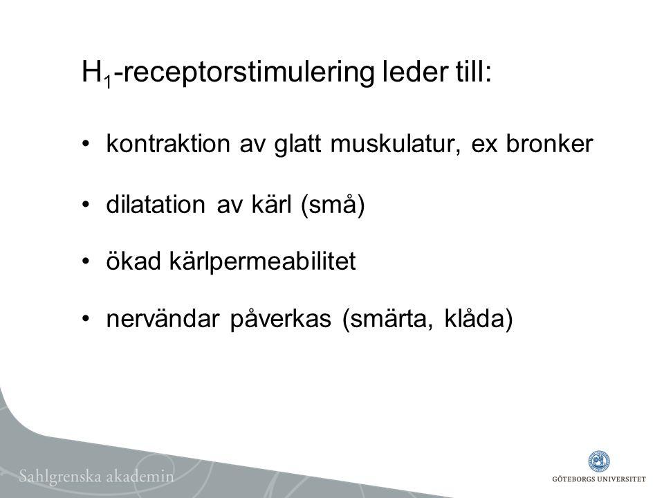 H1-receptorstimulering leder till: