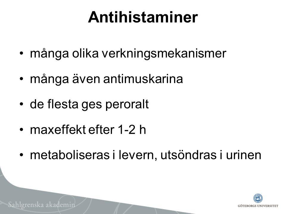 Antihistaminer många olika verkningsmekanismer