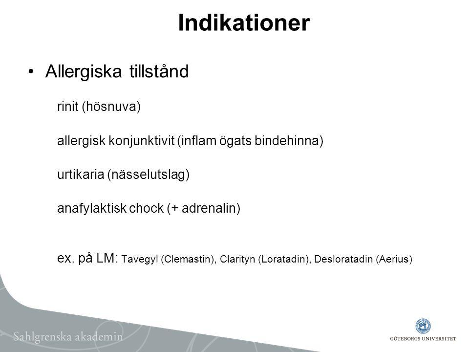 Indikationer Allergiska tillstånd rinit (hösnuva)