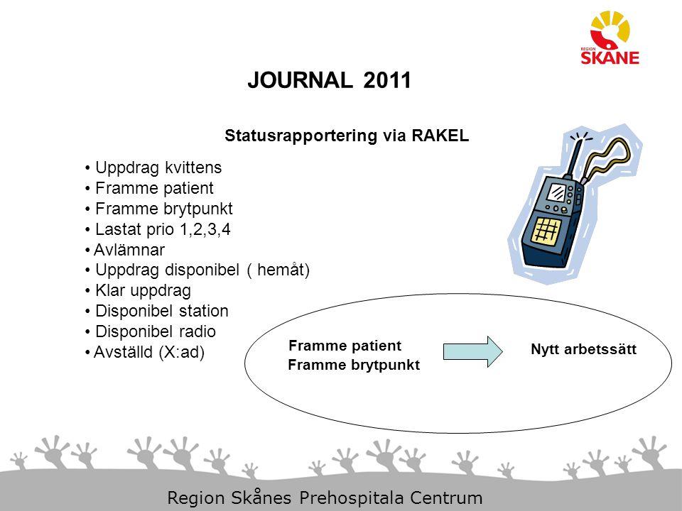 JOURNAL 2011 Statusrapportering via RAKEL Uppdrag kvittens
