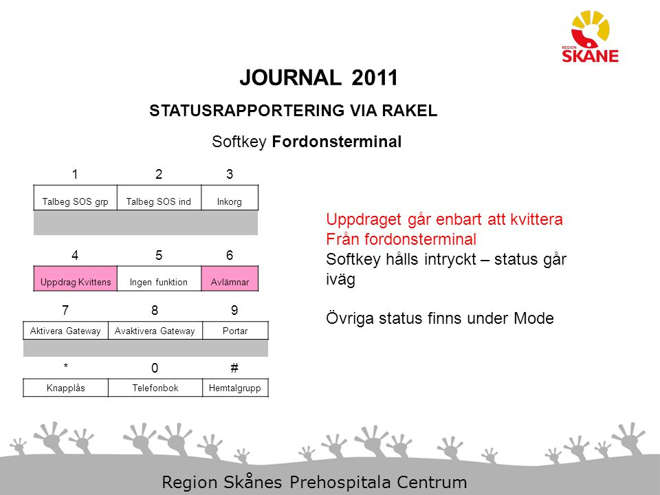JOURNAL 2011 STATUSRAPPORTERING VIA RAKEL Softkey Fordonsterminal