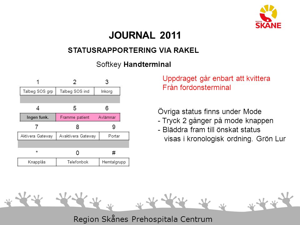 JOURNAL 2011 STATUSRAPPORTERING VIA RAKEL Softkey Handterminal