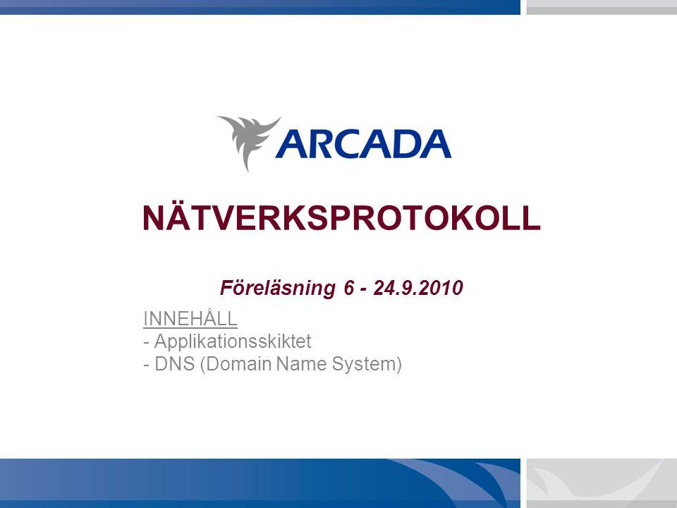 NÄTVERKSPROTOKOLL Föreläsning 6 - 24.9.2010