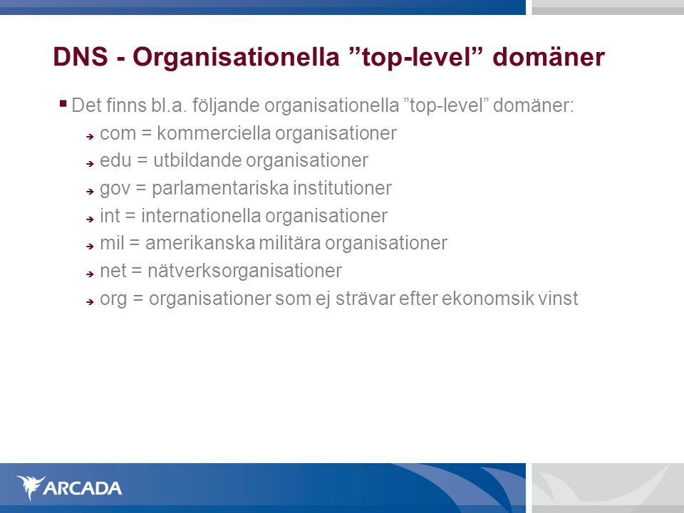 DNS - Organisationella top-level domäner