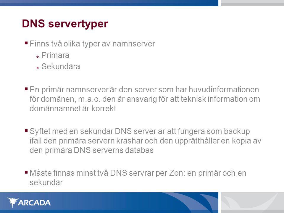 DNS servertyper Finns två olika typer av namnserver Primära Sekundära