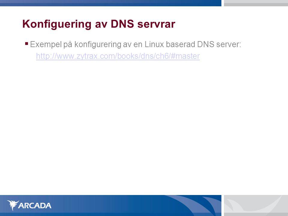 Konfiguering av DNS servrar