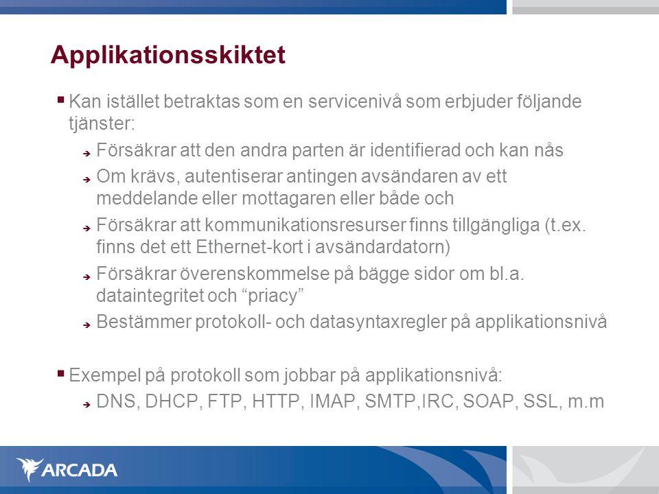 Applikationsskiktet Kan istället betraktas som en servicenivå som erbjuder följande tjänster: