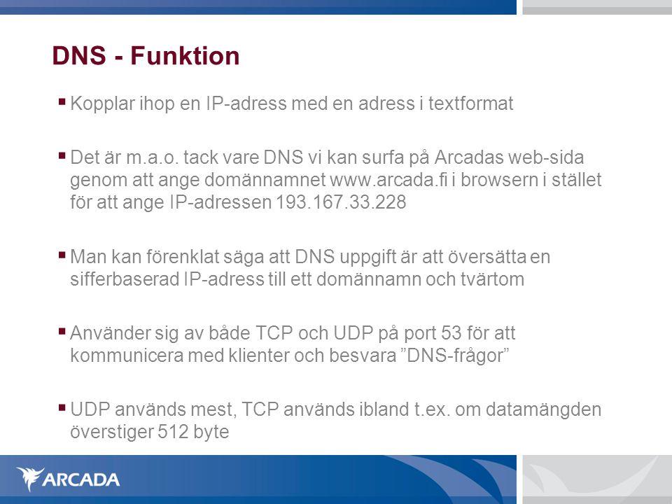 DNS - Funktion Kopplar ihop en IP-adress med en adress i textformat