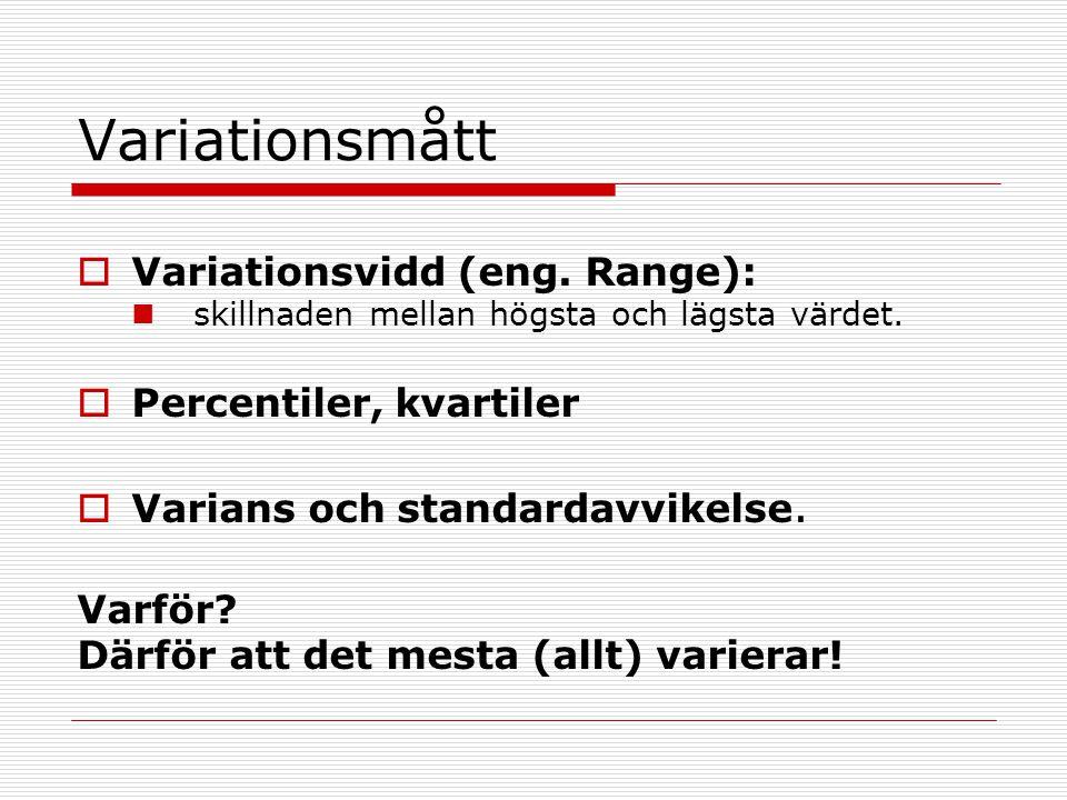 Variationsmått Variationsvidd (eng. Range): Percentiler, kvartiler