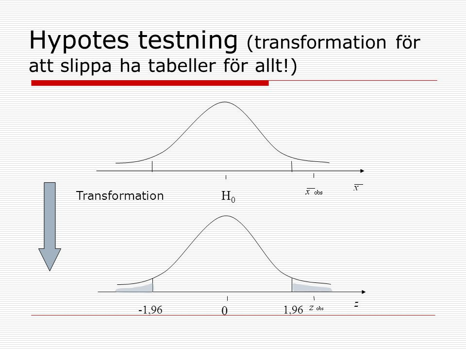 Hypotes testning (transformation för att slippa ha tabeller för allt!)