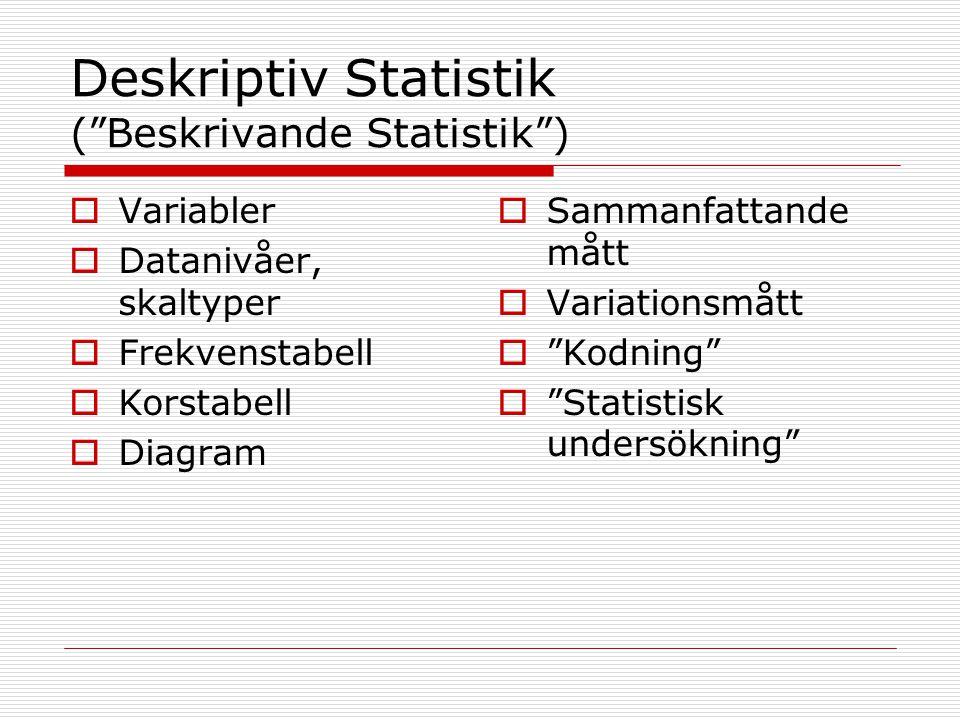 Deskriptiv Statistik ( Beskrivande Statistik )