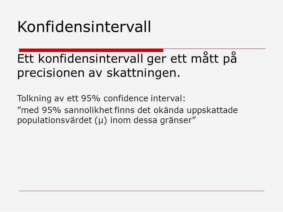 Konfidensintervall Ett konfidensintervall ger ett mått på precisionen av skattningen. Tolkning av ett 95% confidence interval: