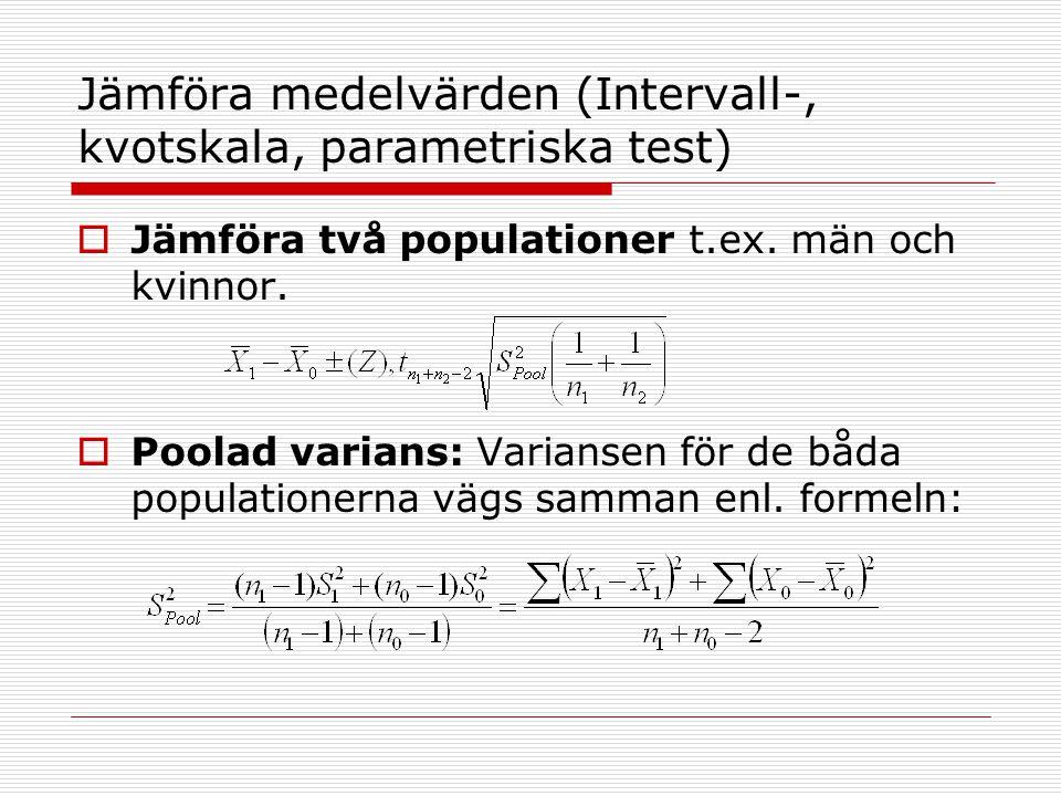 Jämföra medelvärden (Intervall-, kvotskala, parametriska test)