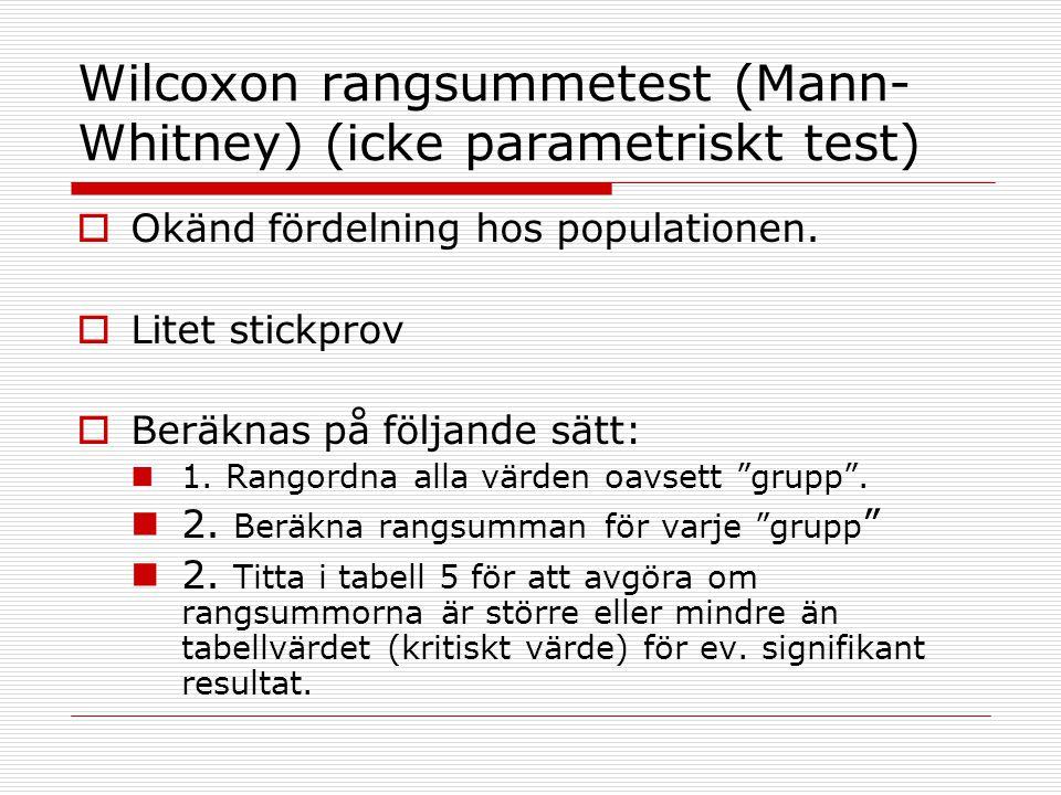 Wilcoxon rangsummetest (Mann-Whitney) (icke parametriskt test)