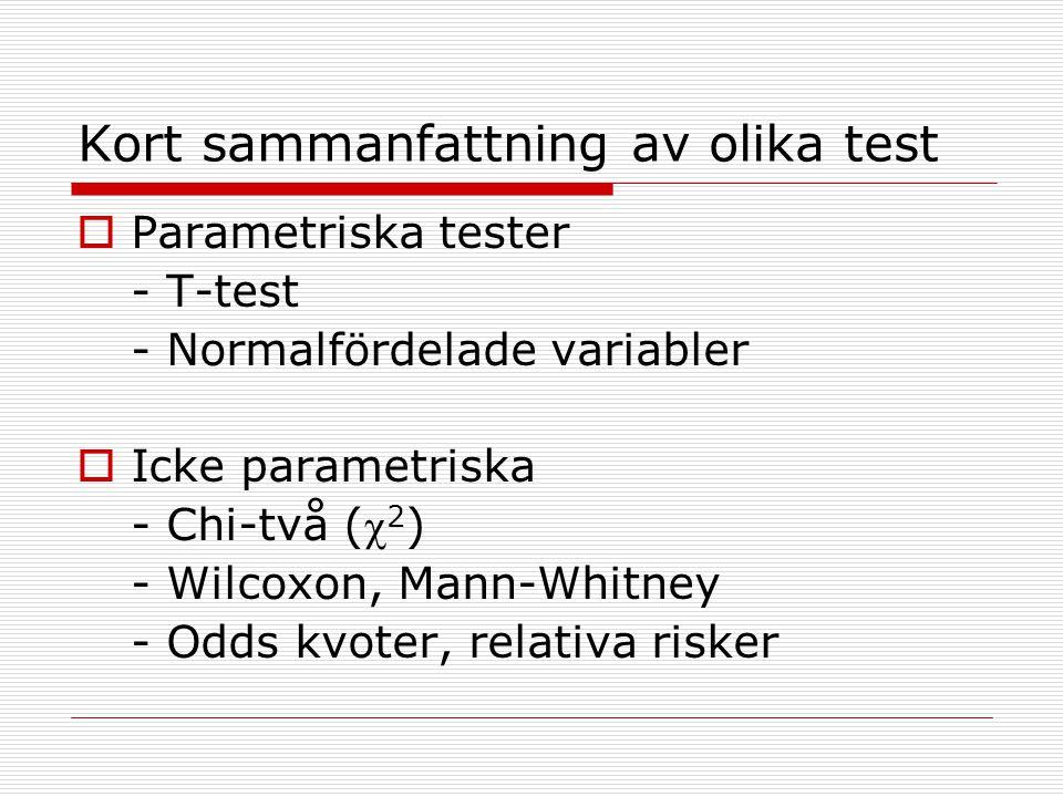 Kort sammanfattning av olika test