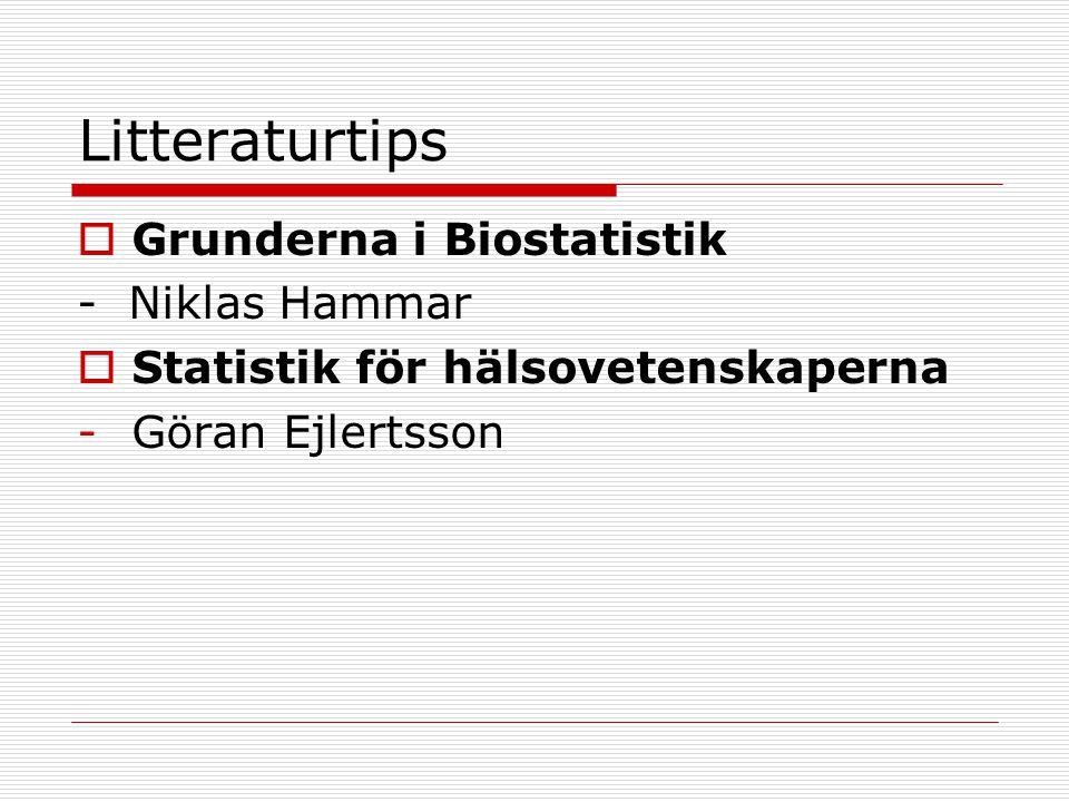 Litteraturtips Grunderna i Biostatistik - Niklas Hammar