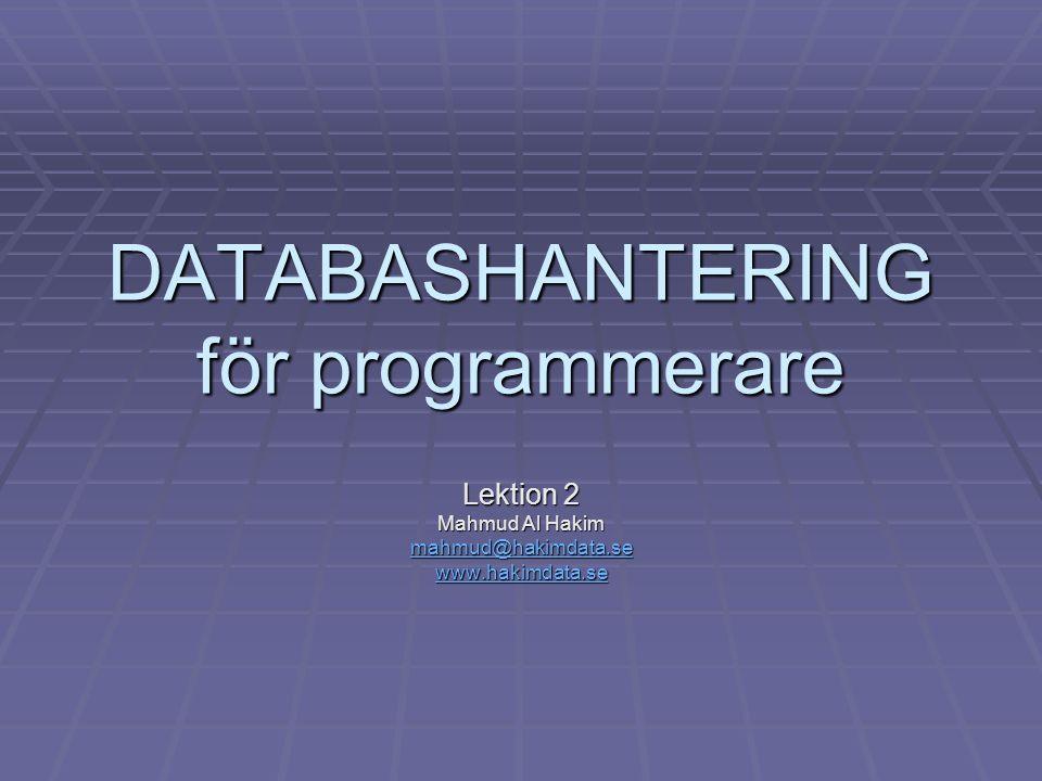 DATABASHANTERING för programmerare