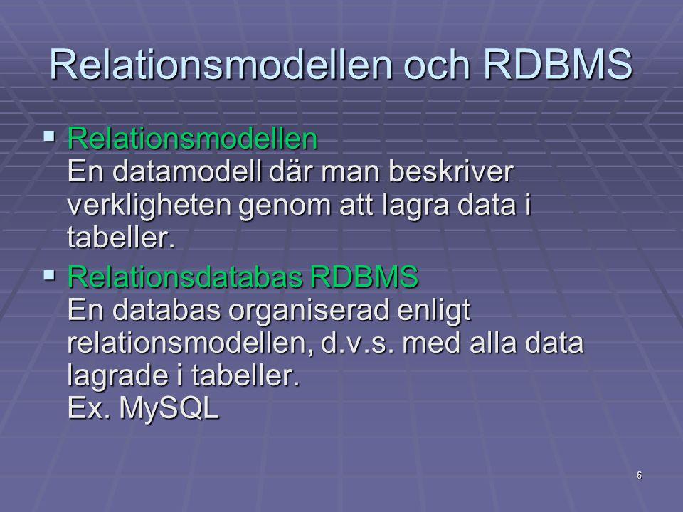 Relationsmodellen och RDBMS