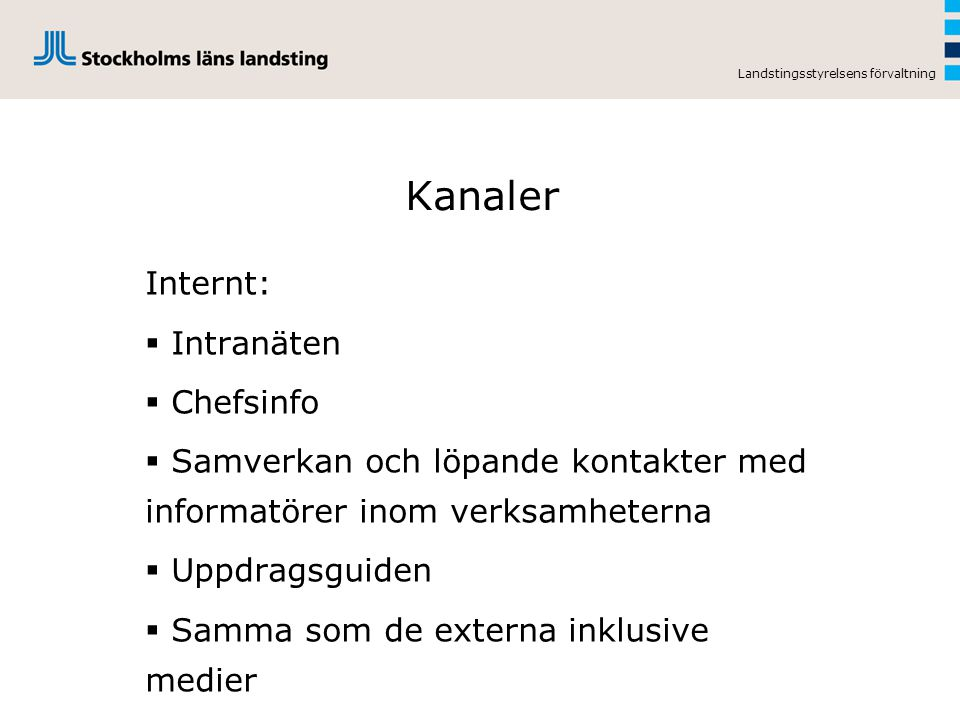 Kanaler Internt: Intranäten Chefsinfo