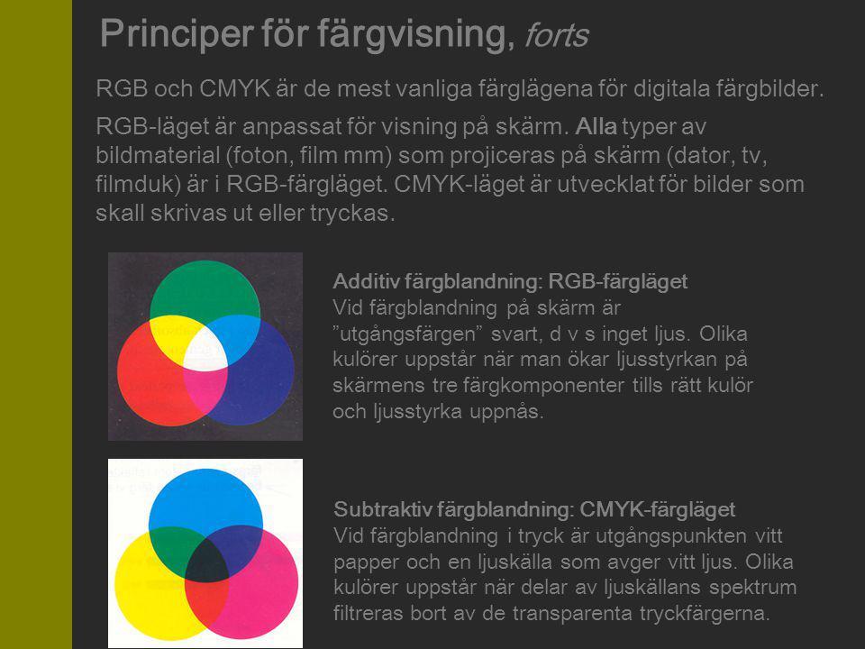 Principer för färgvisning, forts