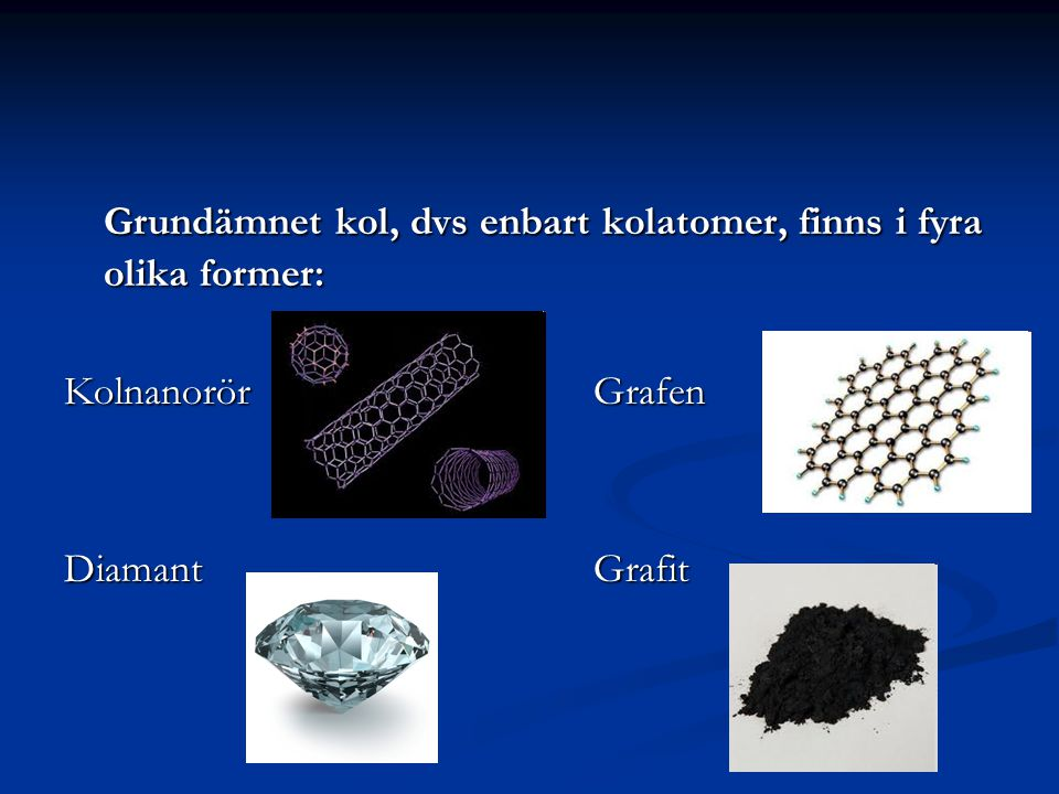 Grundämnet kol, dvs enbart kolatomer, finns i fyra olika former: