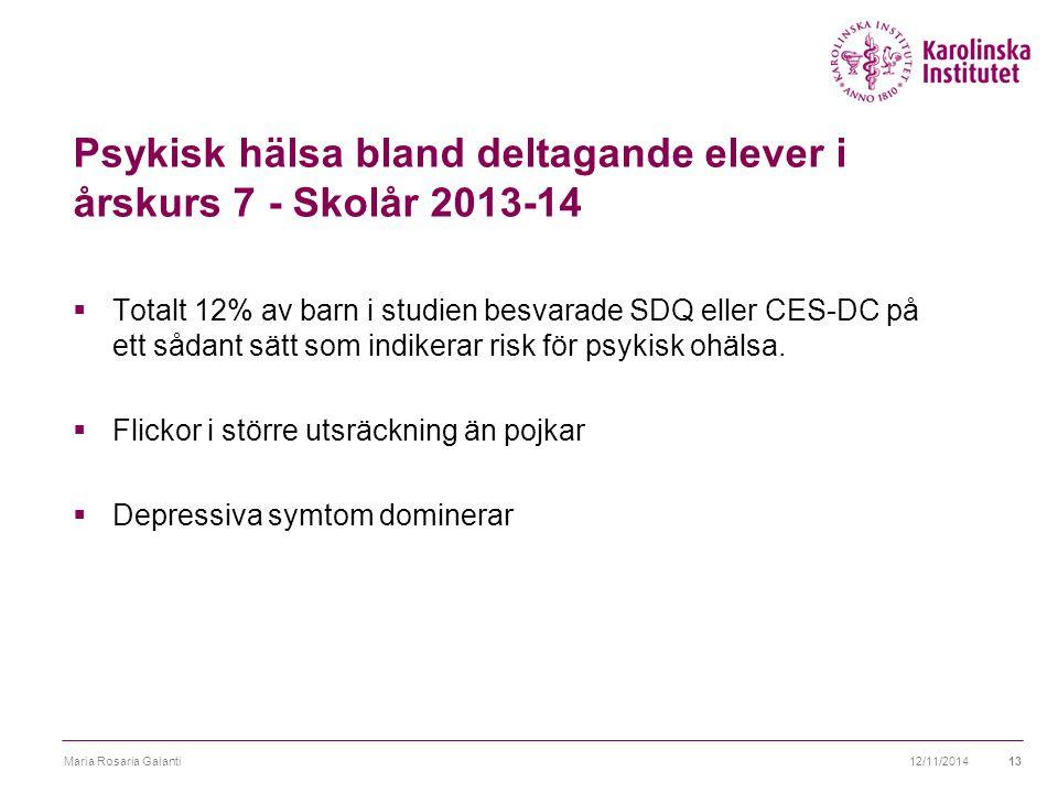 Psykisk hälsa bland deltagande elever i årskurs 7 - Skolår 2013-14