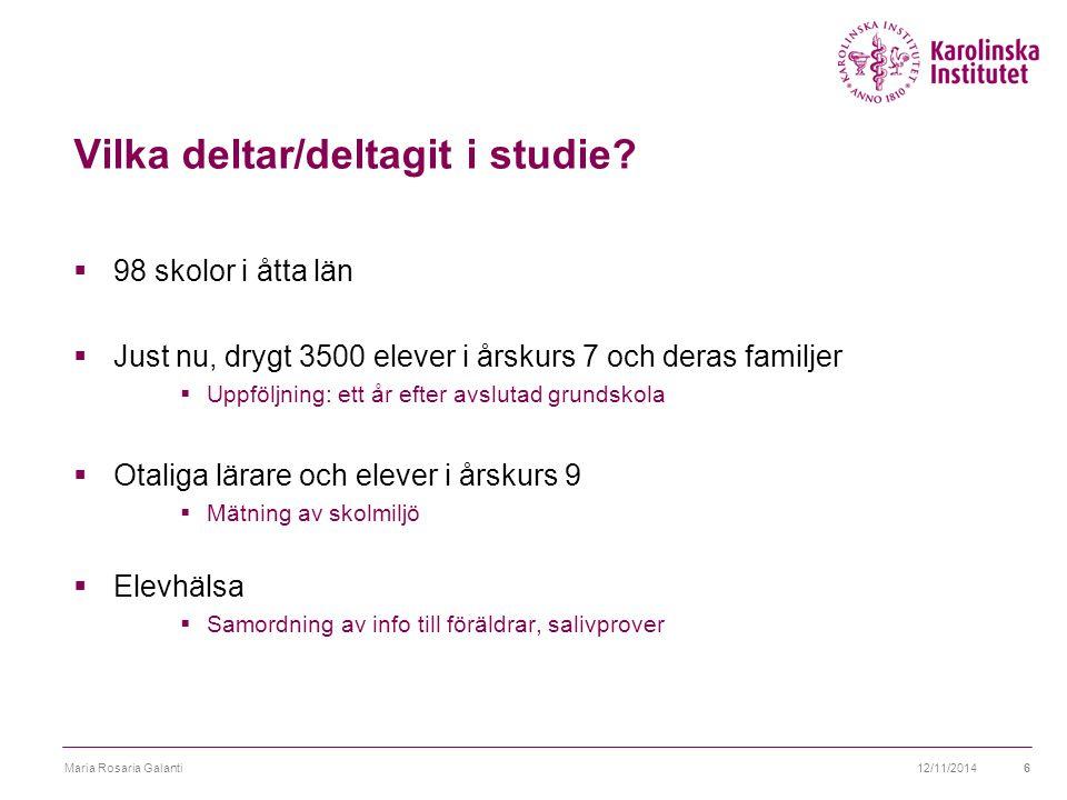 Vilka deltar/deltagit i studie