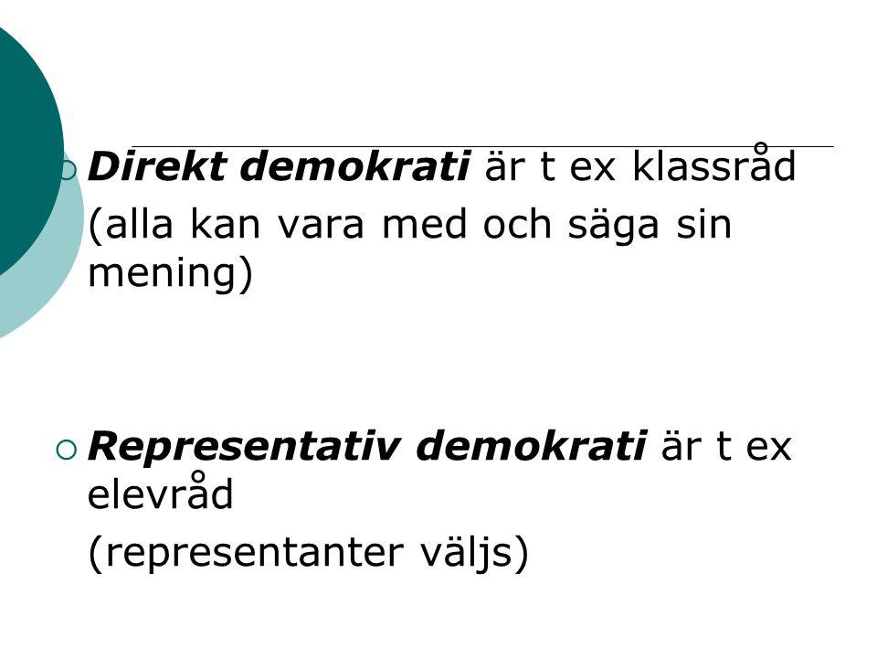 Direkt demokrati är t ex klassråd