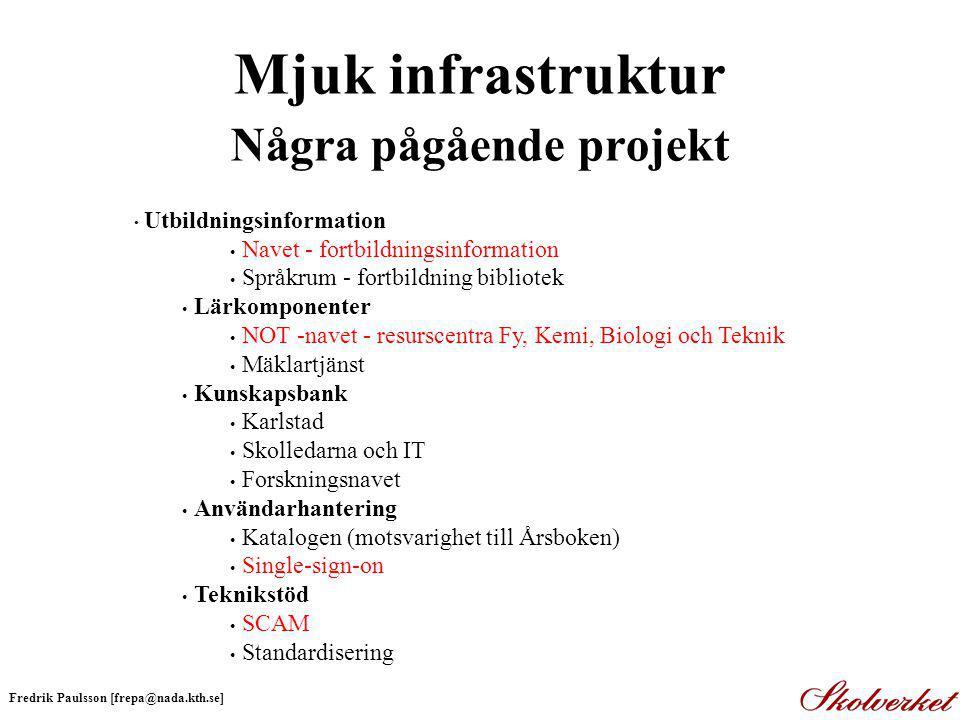 Mjuk infrastruktur Några pågående projekt