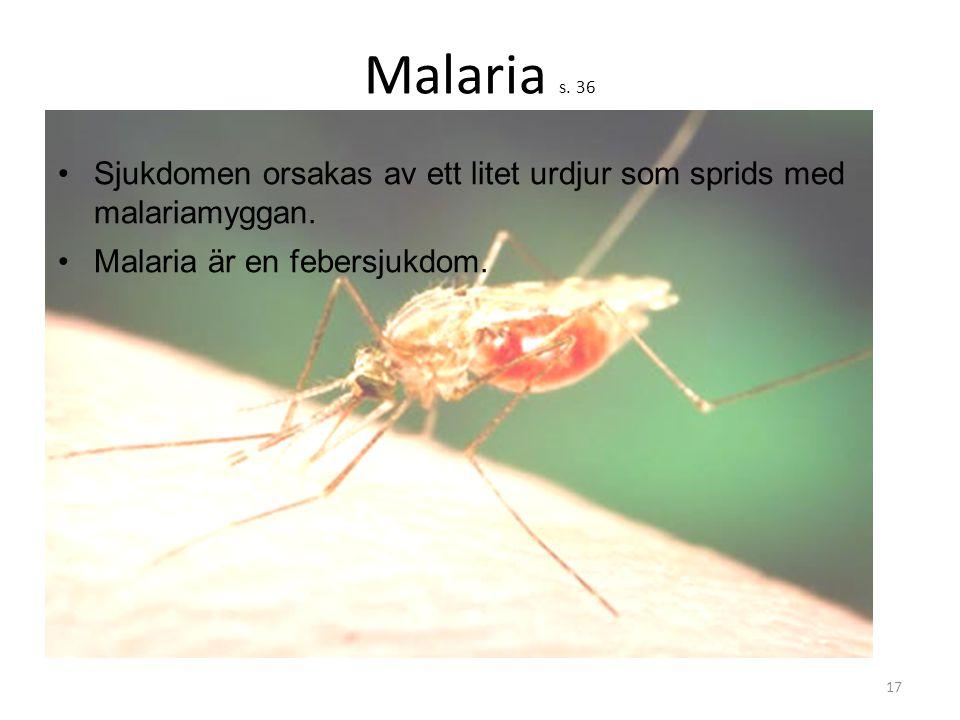 Malaria s. 36 Sjukdomen orsakas av ett litet urdjur som sprids med malariamyggan. Malaria är en febersjukdom.
