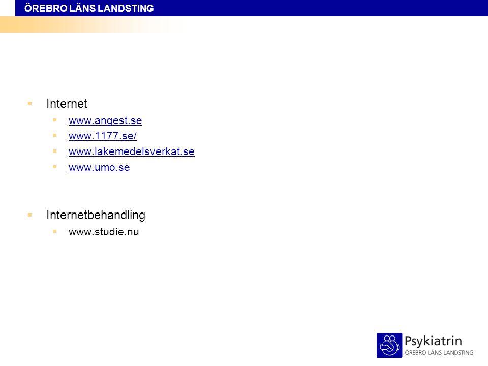 Internet Internetbehandling www.angest.se www.1177.se/