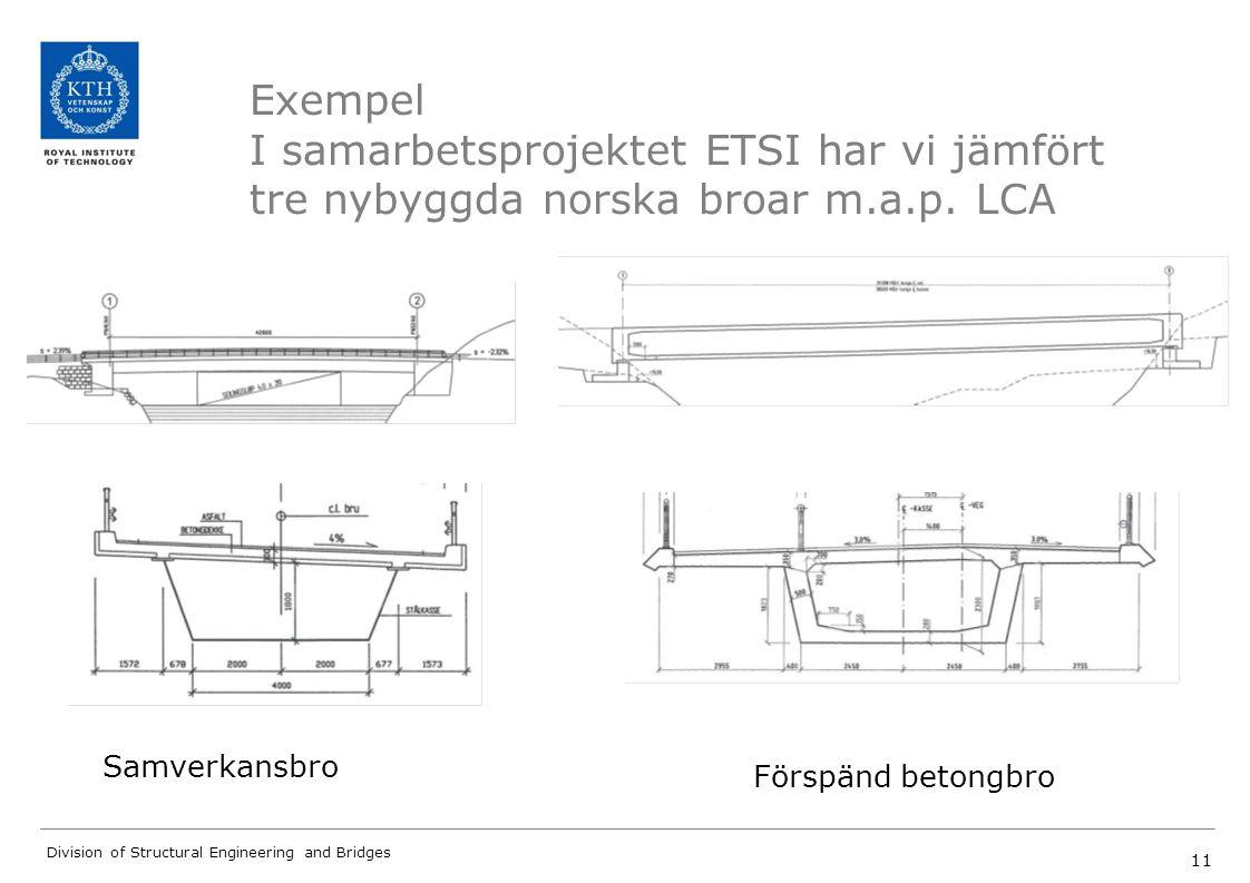 Exempel I samarbetsprojektet ETSI har vi jämfört tre nybyggda norska broar m.a.p. LCA