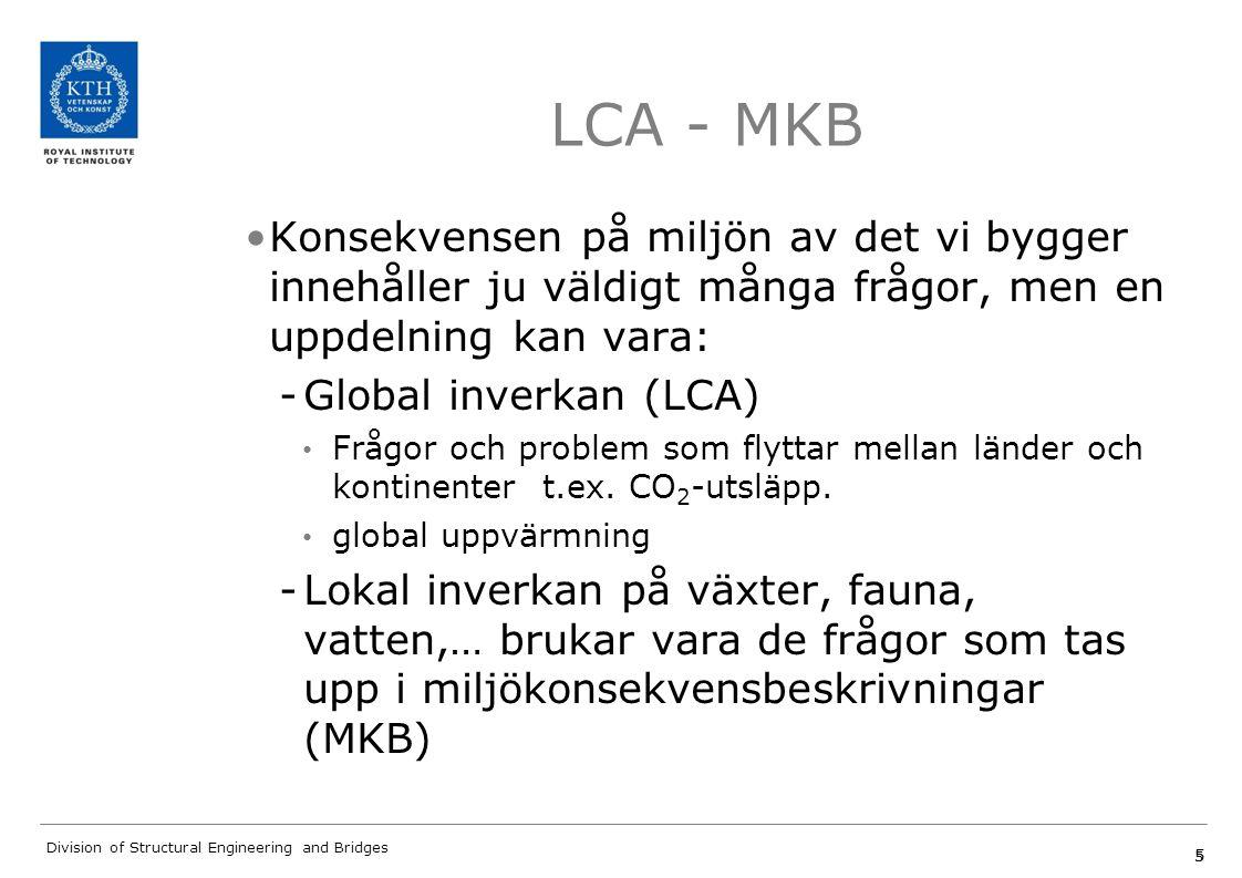 LCA - MKB Konsekvensen på miljön av det vi bygger innehåller ju väldigt många frågor, men en uppdelning kan vara: