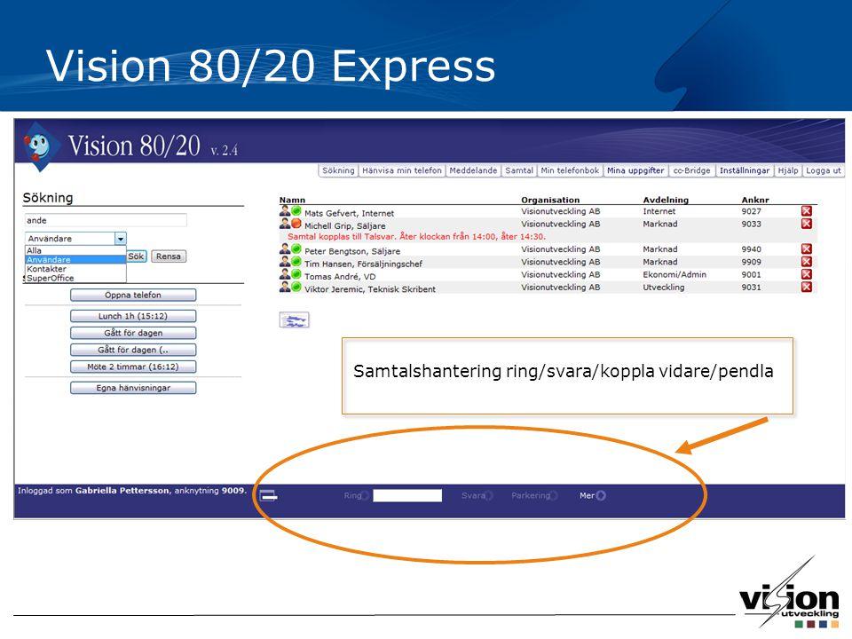Vision 80/20 Express Samtalshantering ring/svara/koppla vidare/pendla