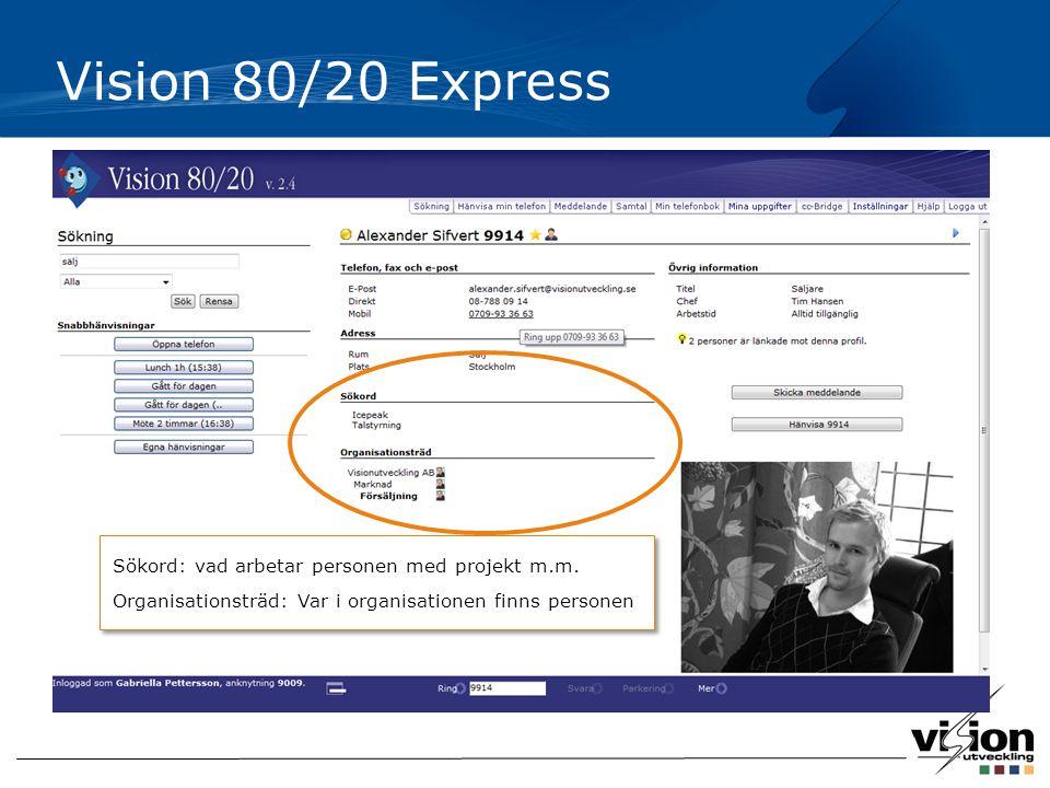 Vision 80/20 Express Sökord: vad arbetar personen med projekt m.m.