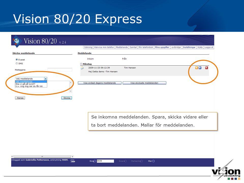 Vision 80/20 Express Se inkomna meddelanden. Spara, skicka vidare eller ta bort meddelanden.