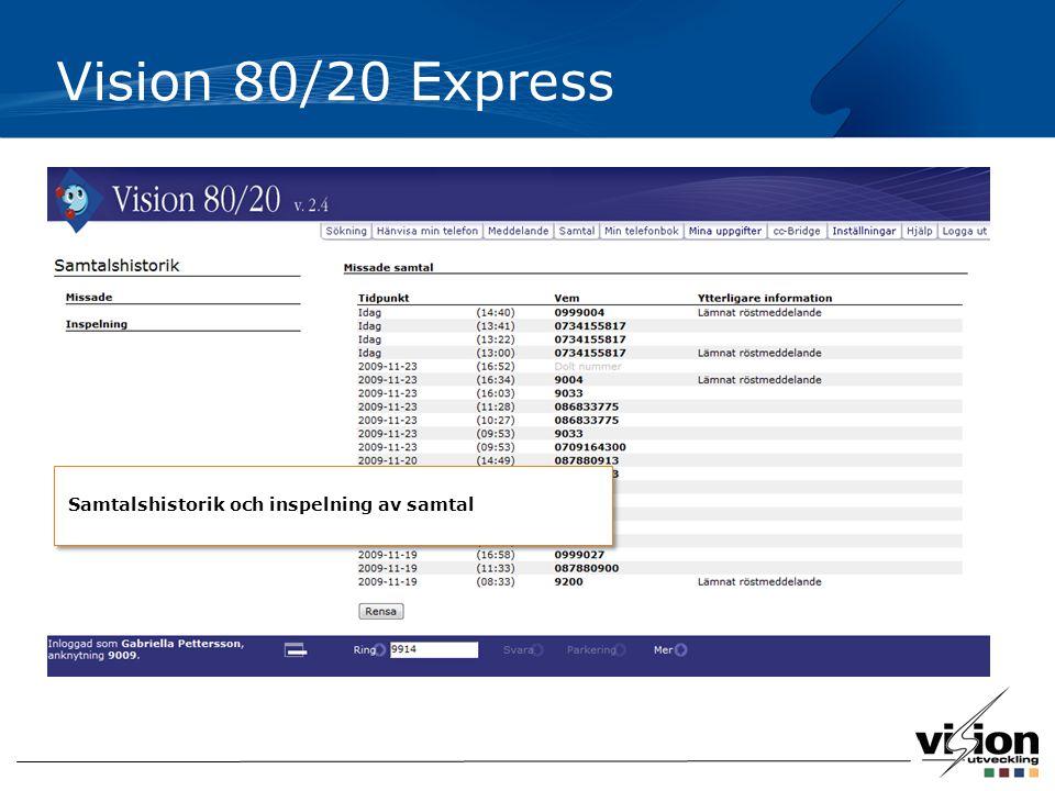 Vision 80/20 Express Samtalshistorik och inspelning av samtal